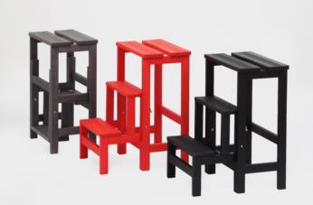 Stool ladder HAPPY LINES open and folded: black, red and grey