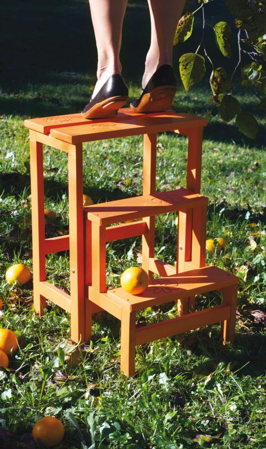wood step stool ladder HAPPY FLOWERS